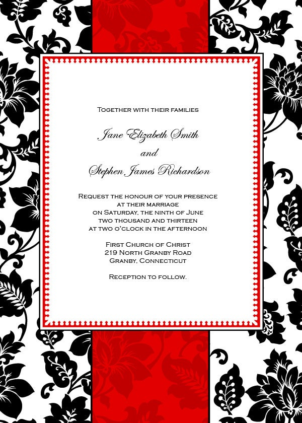 52Invitation Templates – Free Printable Blank Wedding Invitation Templates
