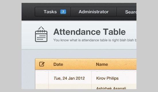 attendance table design