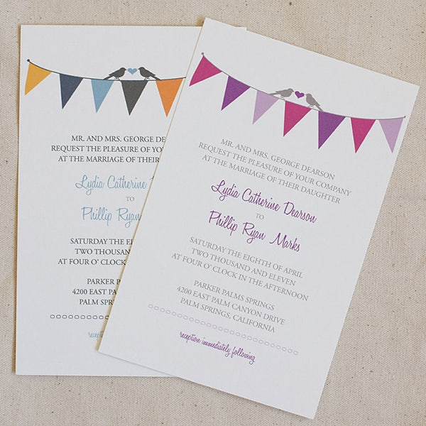 bunting free printable wedding invitation templates - Free Templates For Wedding Invitations