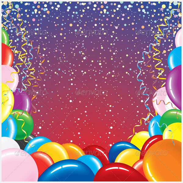 Background With Balloons and Confetti