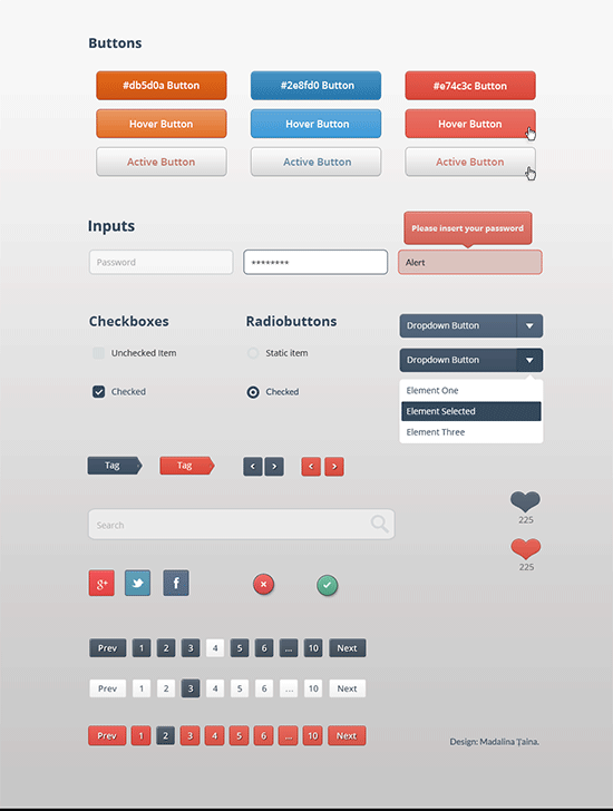 basic buttons and elements