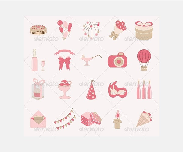 Birthday Icon Set Vector