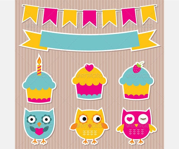 Birthday Party Vector Sticker Set