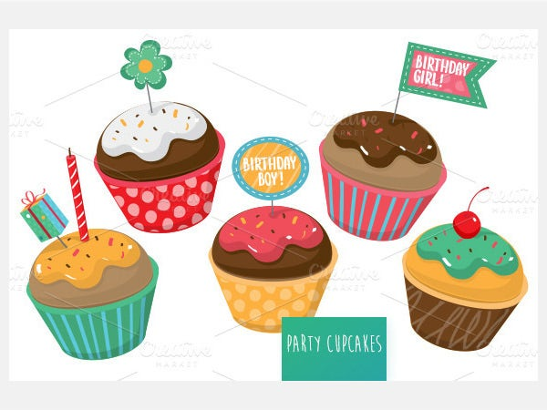 Birthday Party cupcakes vector set