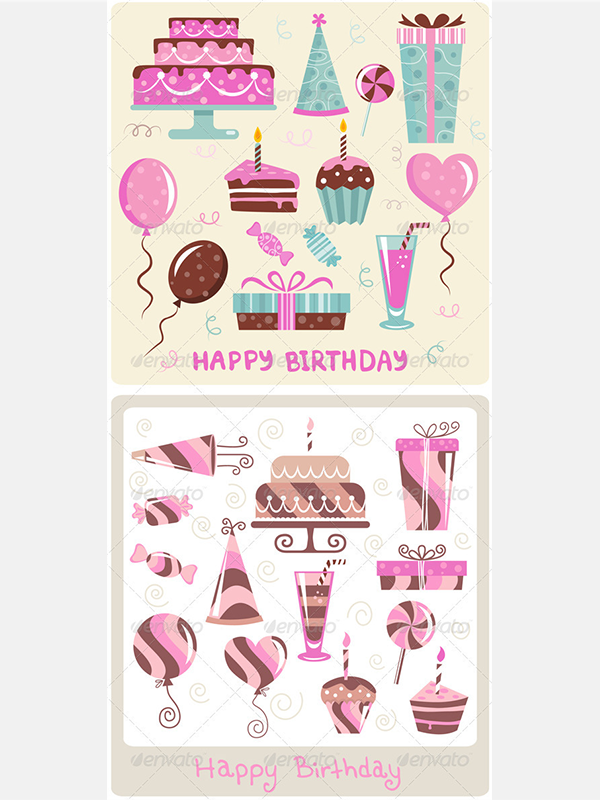 Birthday Vector Icons Set