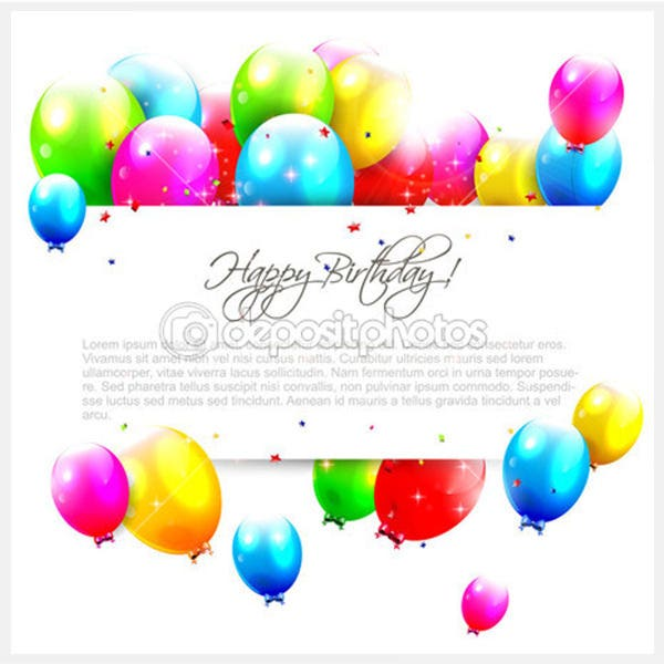 Birthday balloons on white background - Stock Illustration