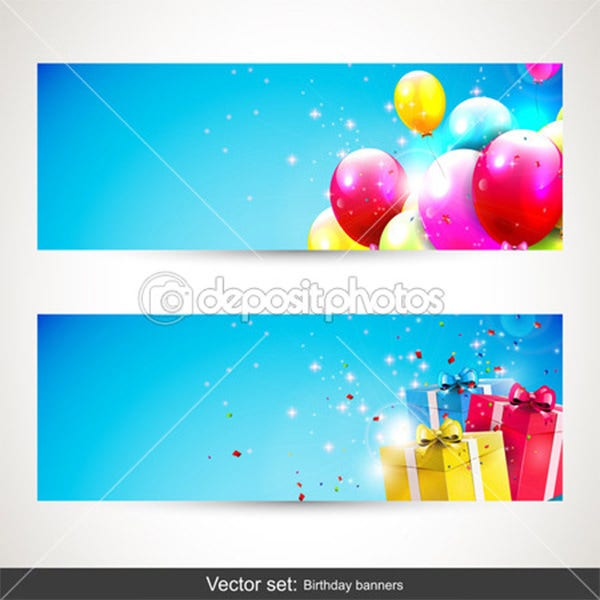 Birthday banners - vector set - Stock Illustration