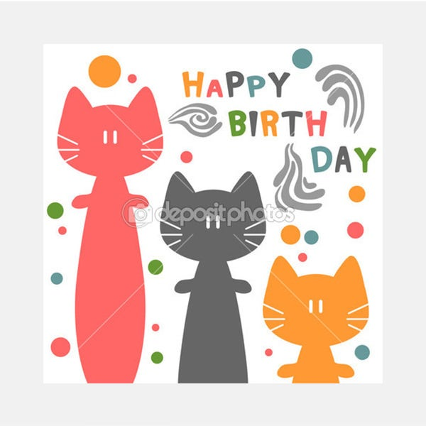 Birthday card with funny cats - Stock Illustration