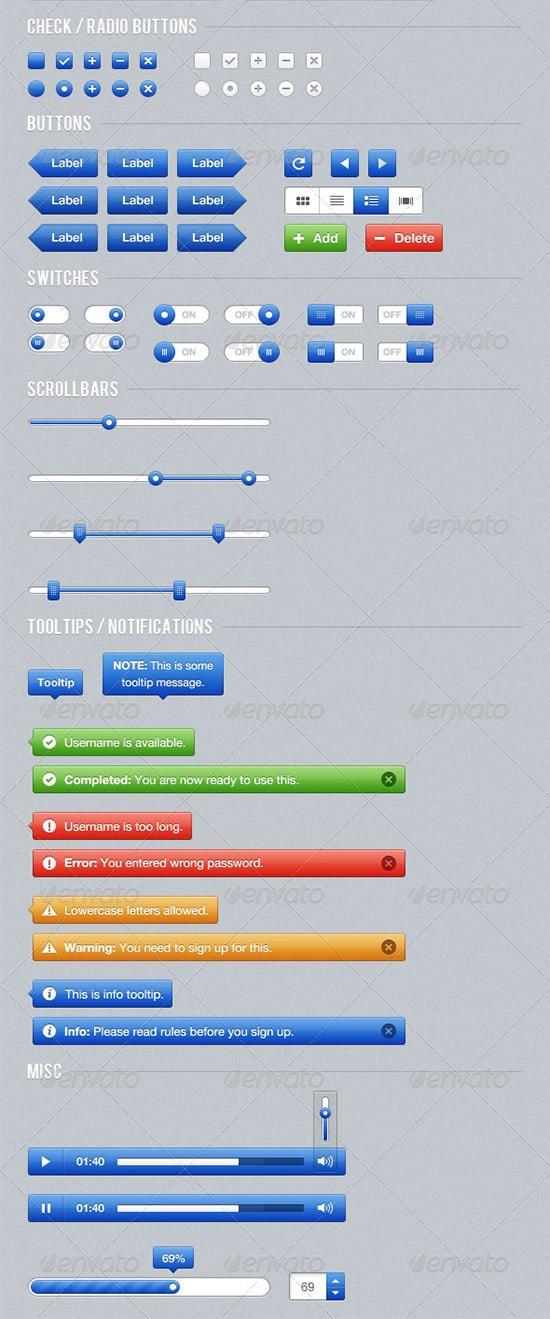 blue web button ui kit