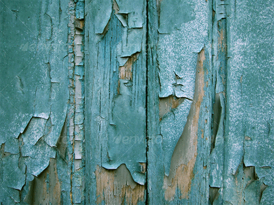 blue wood planks and cracked paint