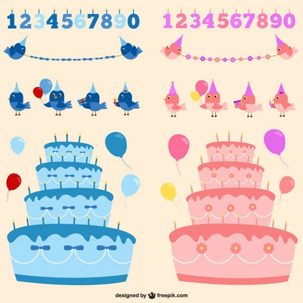 Boy or girl birthday vectors set