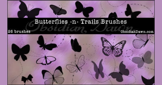 butterflies n trails brushes
