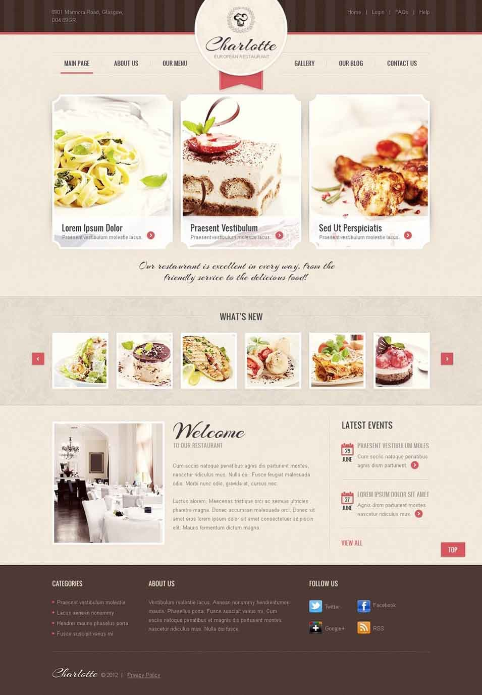 cafe and restaurant joomlatemplate