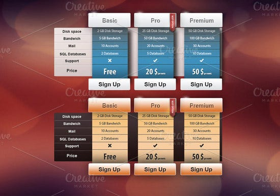 ceative ui pricing table