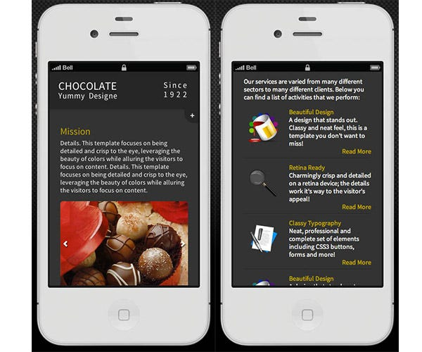 chocolate retina ready mobile template
