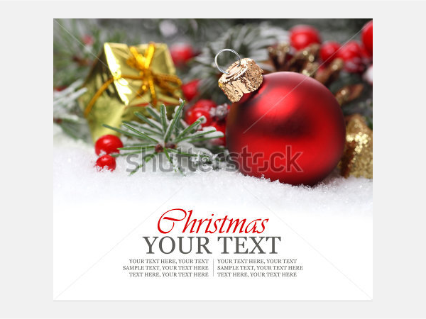 Christmas background with a red ornament, golden gift box
