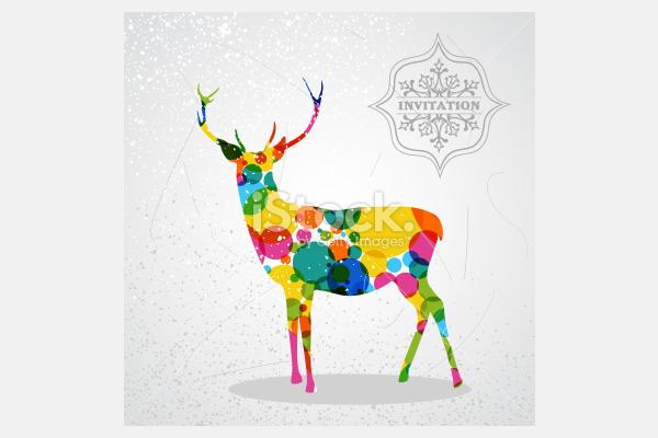 Christmas vintage colorful reindeer - Illustration