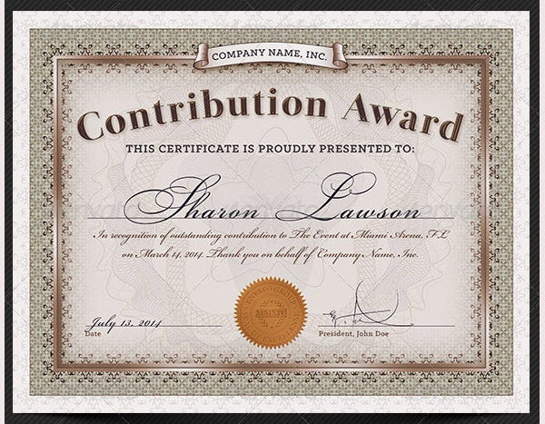 52 printable certificate templates free psd ai vector eps contribution award certificate template yadclub Image collections