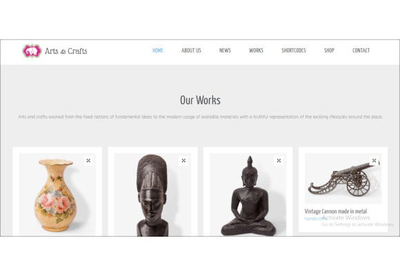crafts arts artist portfolio theme