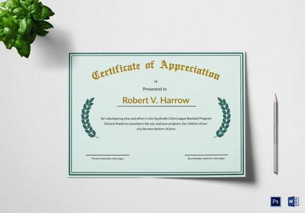 52 printable certificate templates free psd ai vector eps illustration appreciation certificate template in word yelopaper