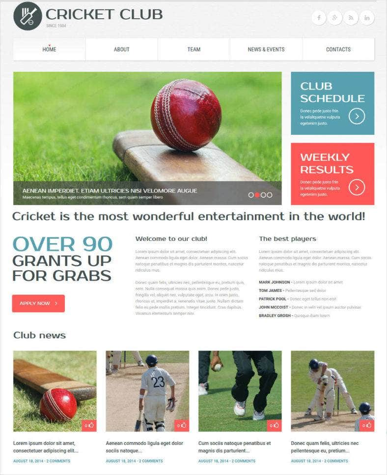 cricket club responsive website template 788x965
