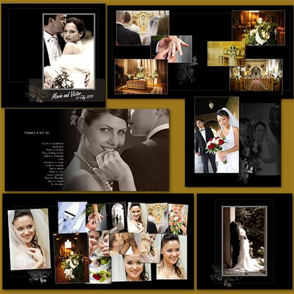 contemporary wedding crown album template