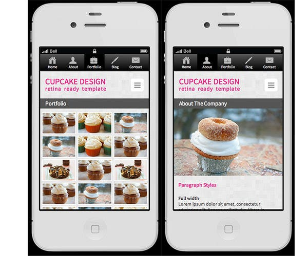 cupcake retina ready mobile template