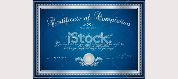 Dark Blue Certificate