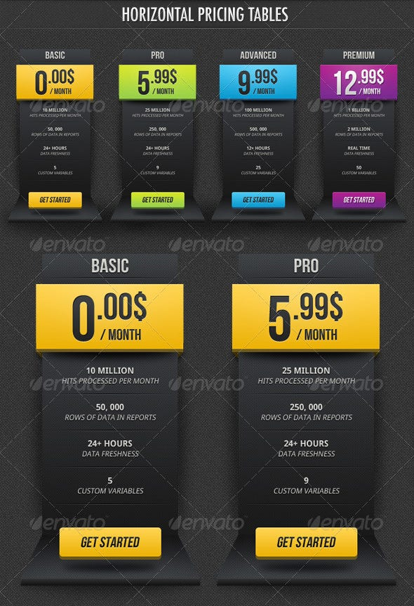 dark pricing tables sliders