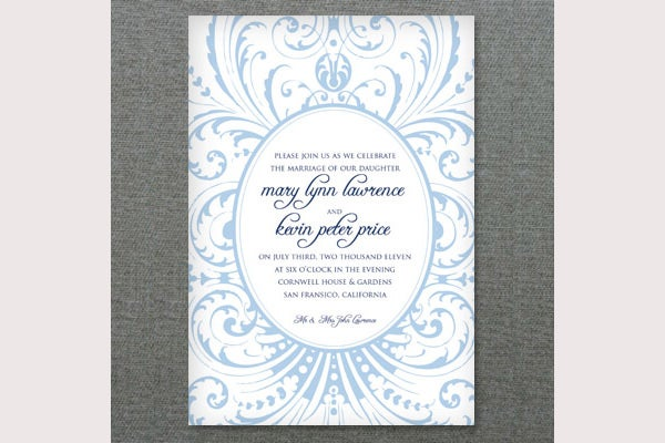 Deco Scroll Wedding Invitation Template