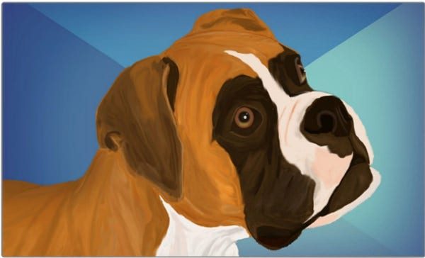 Digital Painted Brown Boxer Dog