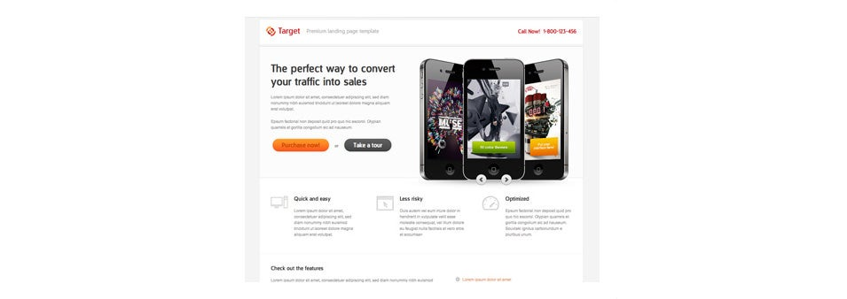 dribbble target landing page free psd on psdchest