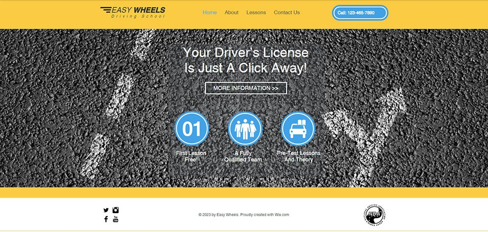 driving school website template wix