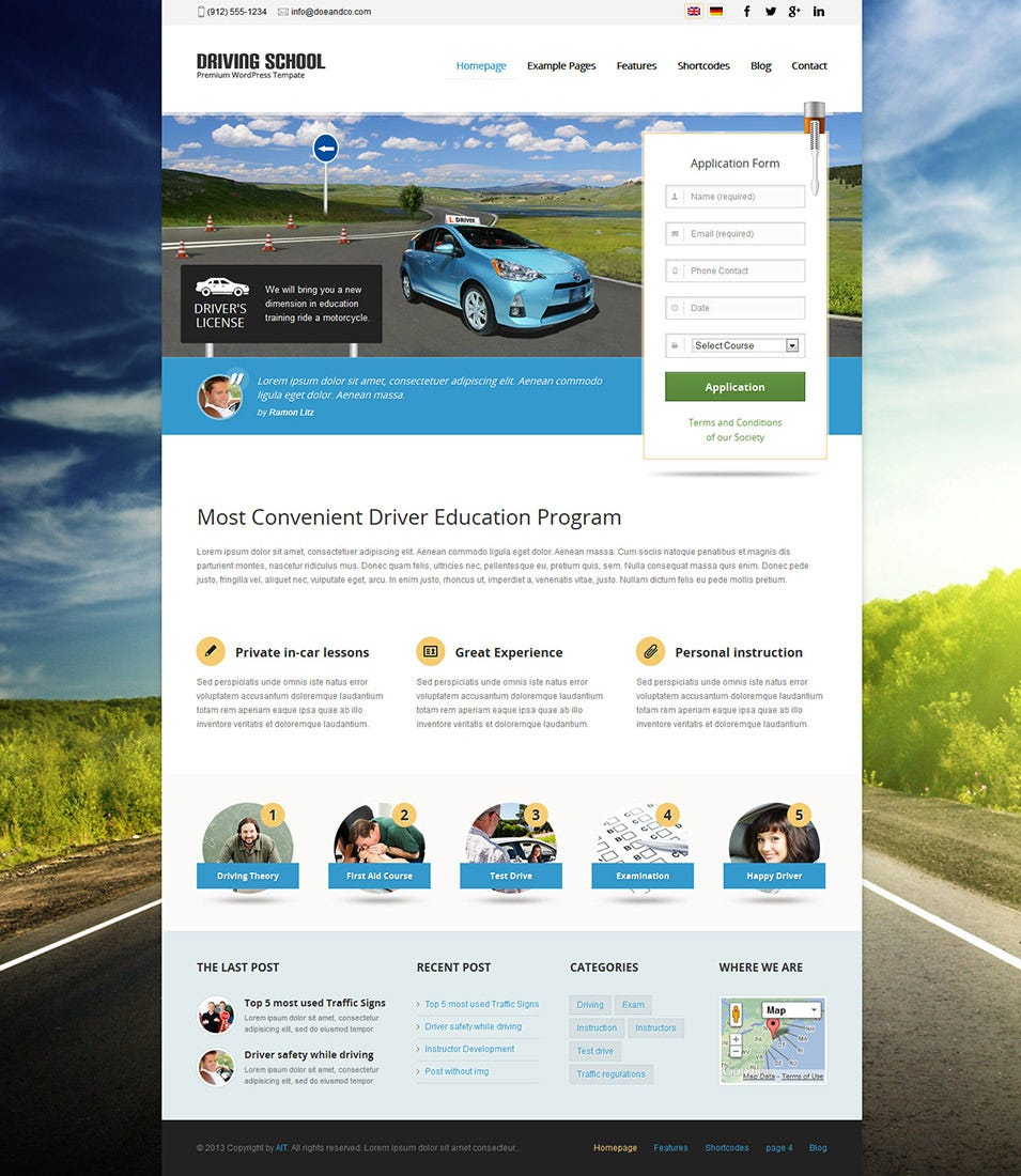dreamweaver layout templates - best driving school website templates free premium