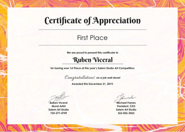 appreciation certificate template for employee - 58 printable certificate templates free psd ai vector