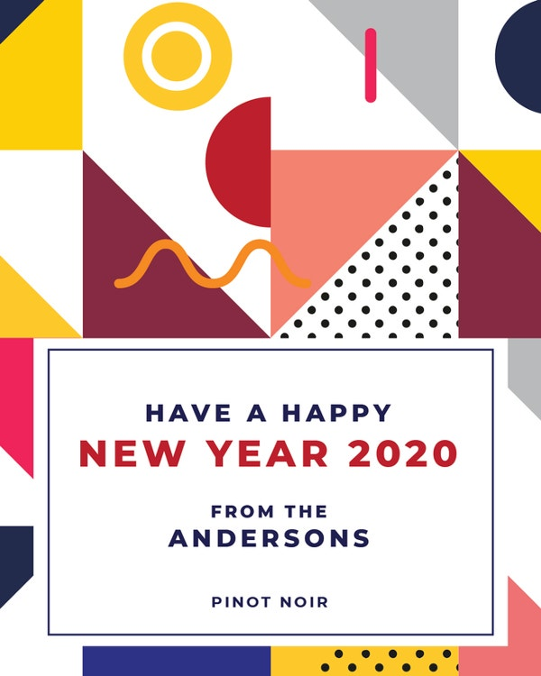 editable new year wine label template