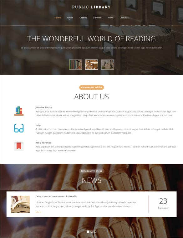 education library html website template
