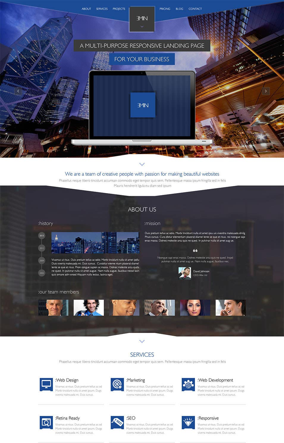 emin multi purpose psd landing page