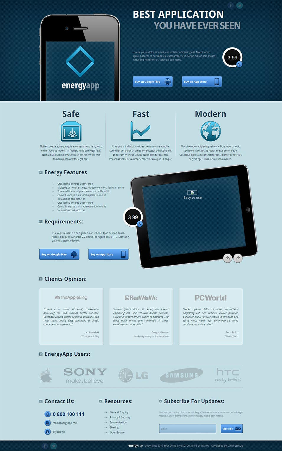 energy app premium landing page for mobile apps