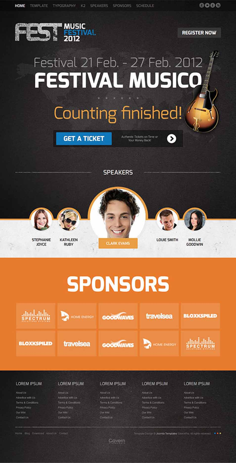 Event management joomla website templates themes free premium events joomla template maxwellsz