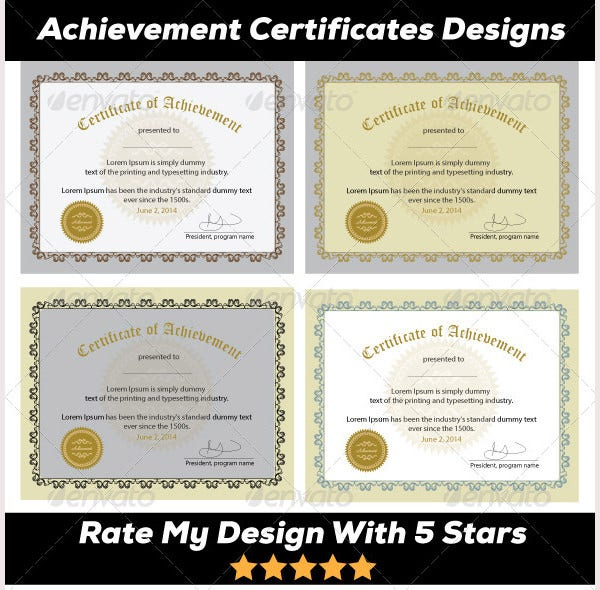 50 Printable Certificate Templates Free PSD AI Vector EPS – Certificates of Excellence Templates