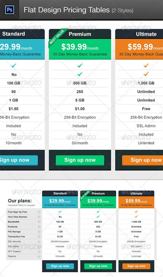 flat design pricing tables