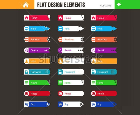 flat design buttons elements