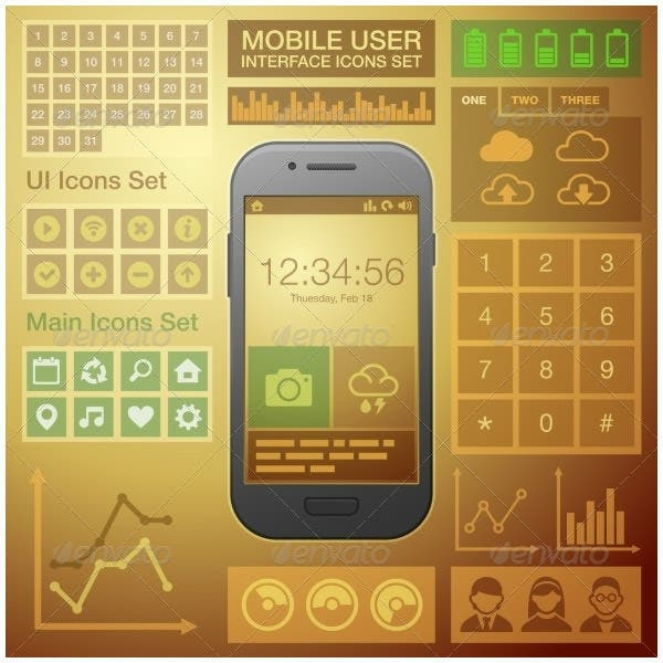 flat mobile ui user interface design elements kit