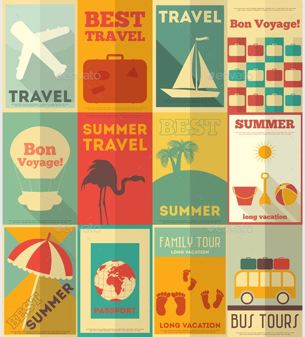 Flat Travel Posters Set