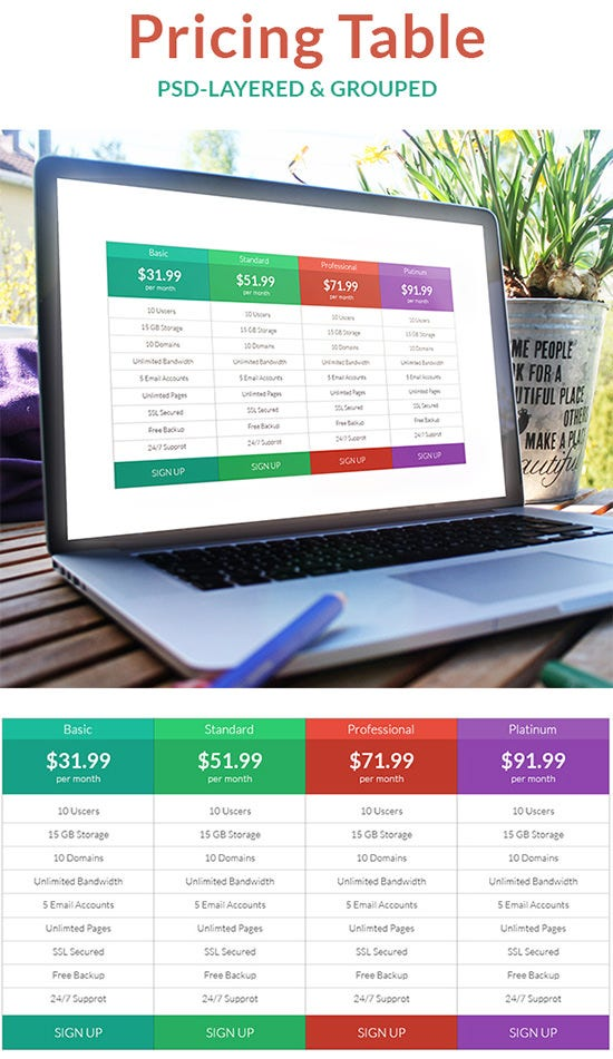 flat ui based pricing table