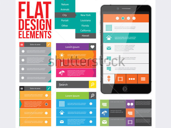 flat web design elements buttons icons