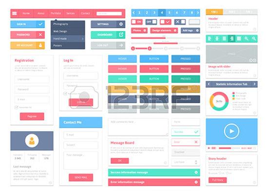 flat user interface vector set
