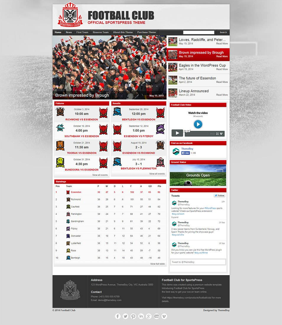 football club official sportspress theme
