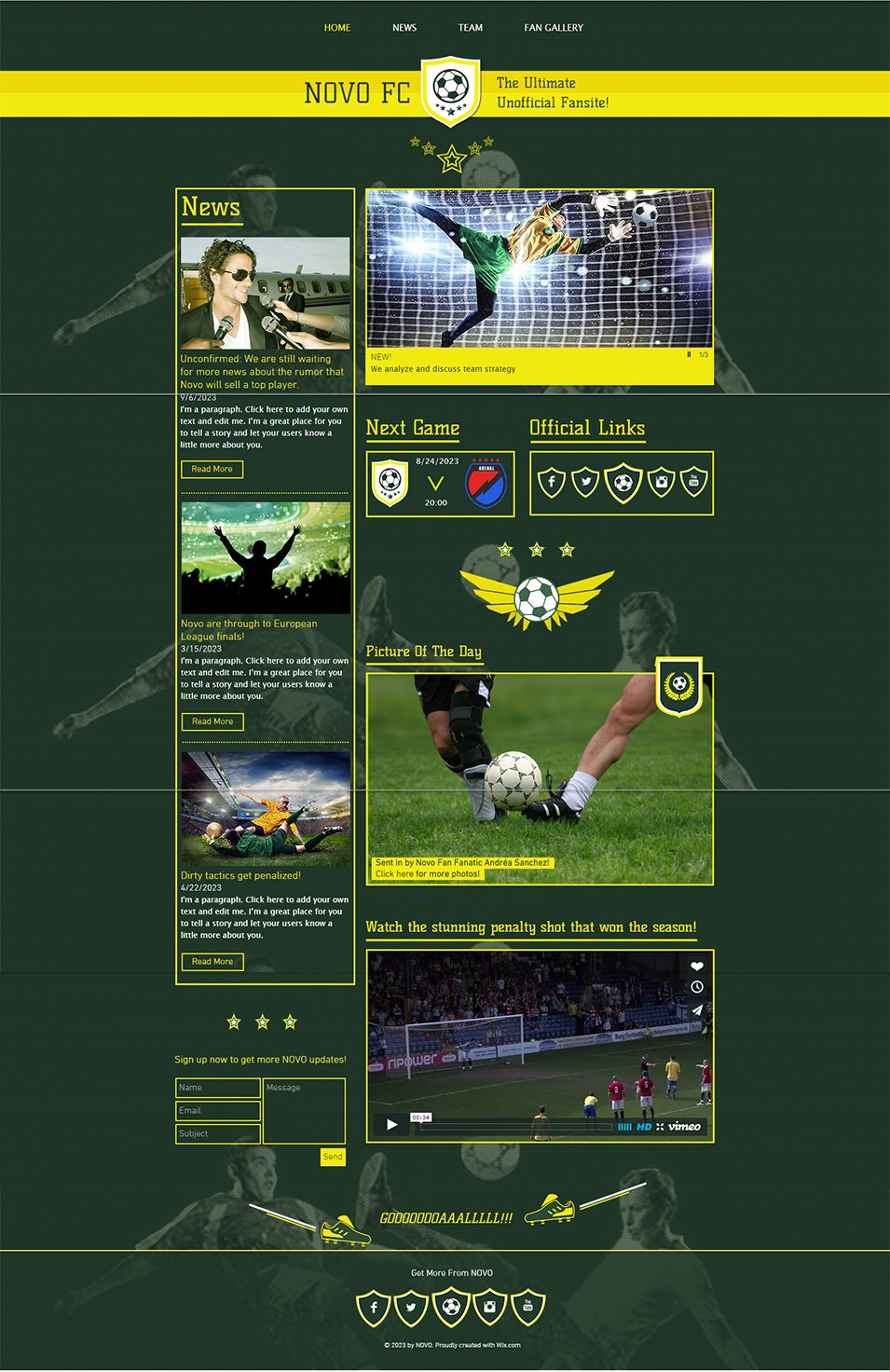 Football Fansite Website Template   WIX1